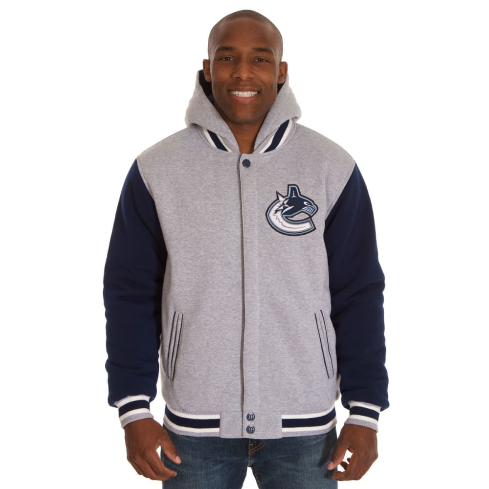 JH DESIGN Men's NHL Vancouver Canucks Reversible Fleece Hooded Jacket - GREY NAVY