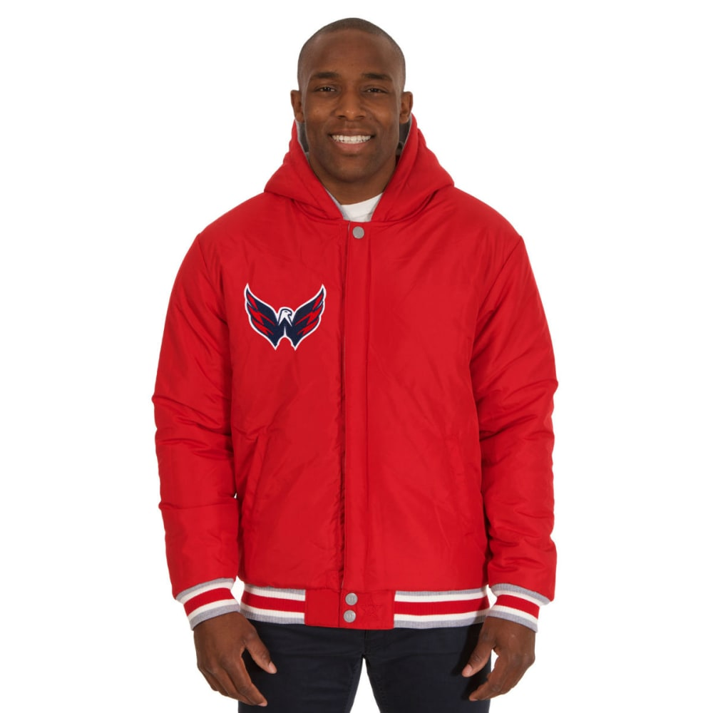 JH DESIGN Men's NHL Washington Capitals Reversible Fleece Hooded Jacket - GREY RED