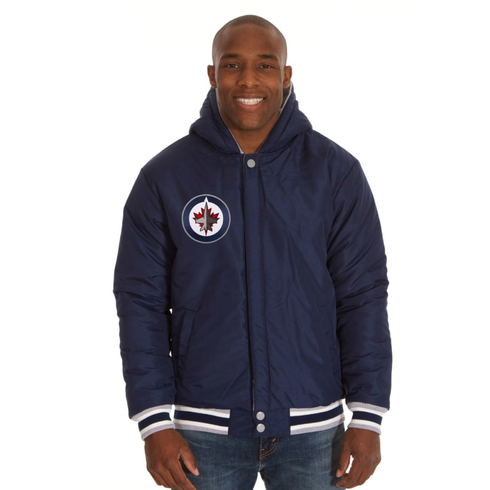 JH DESIGN Men's NHL Winnipeg Jets Reversible Fleece Hooded Jacket - GREY NAVY