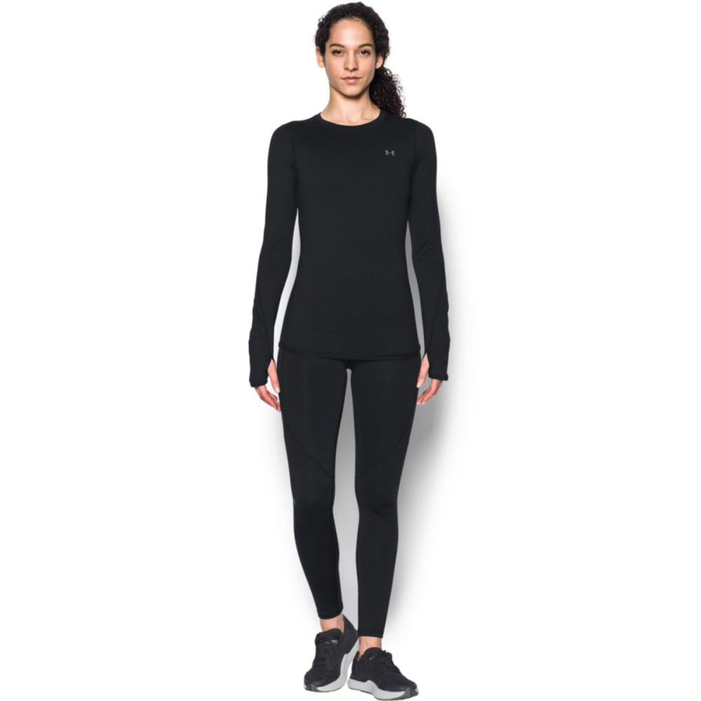 UNDER ARMOUR Women's ColdGear Armour Fitted Crew Top - BLACK-001