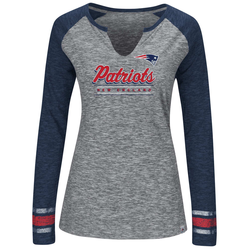 NEW ENGLAND PATRIOTS Women's Lead Play Notch Neck Long-Sleeve Tee - HEATHER GREY