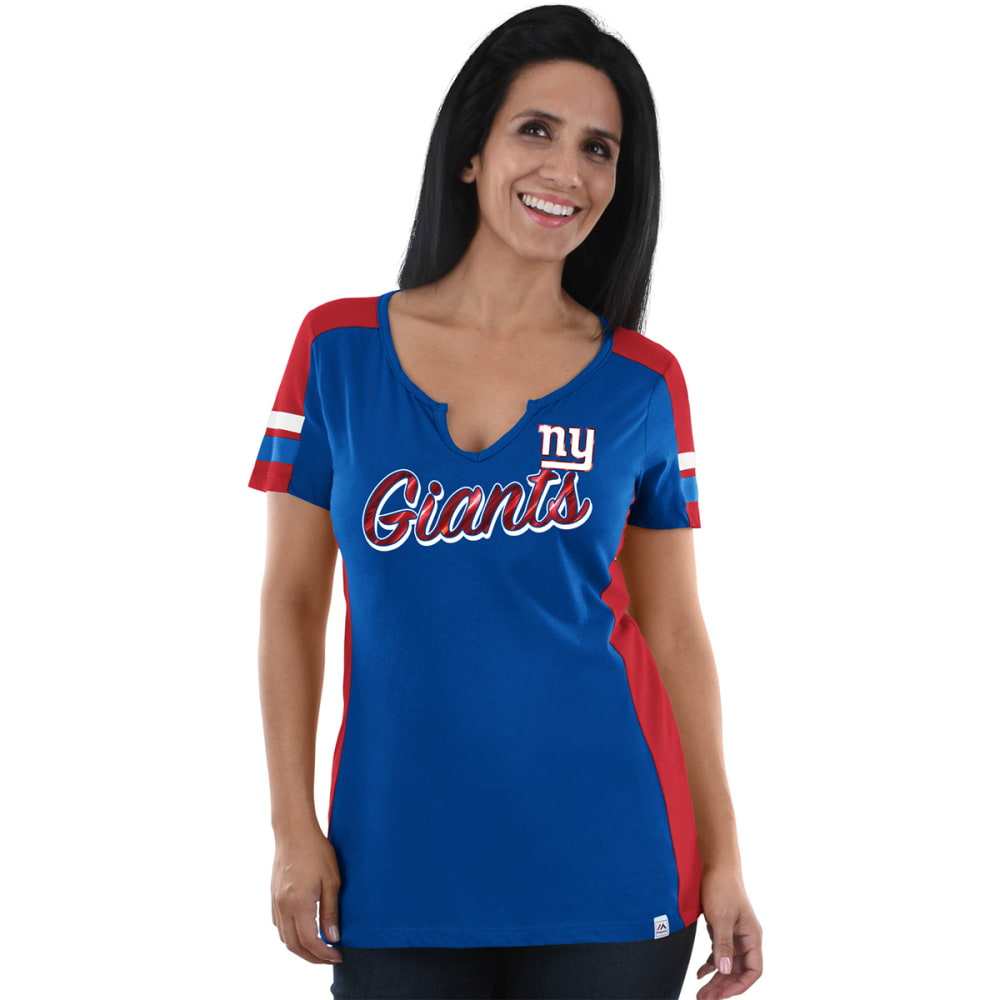 NEW YORK GIANTS Women's Pride Playing V-Neck Short-Sleeve Tee - ROYAL BLUE