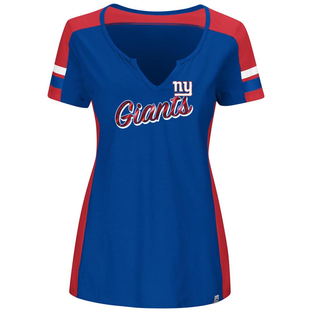 NEW YORK GIANTS Women's Pride Playing V-Neck Short-Sleeve Tee L
