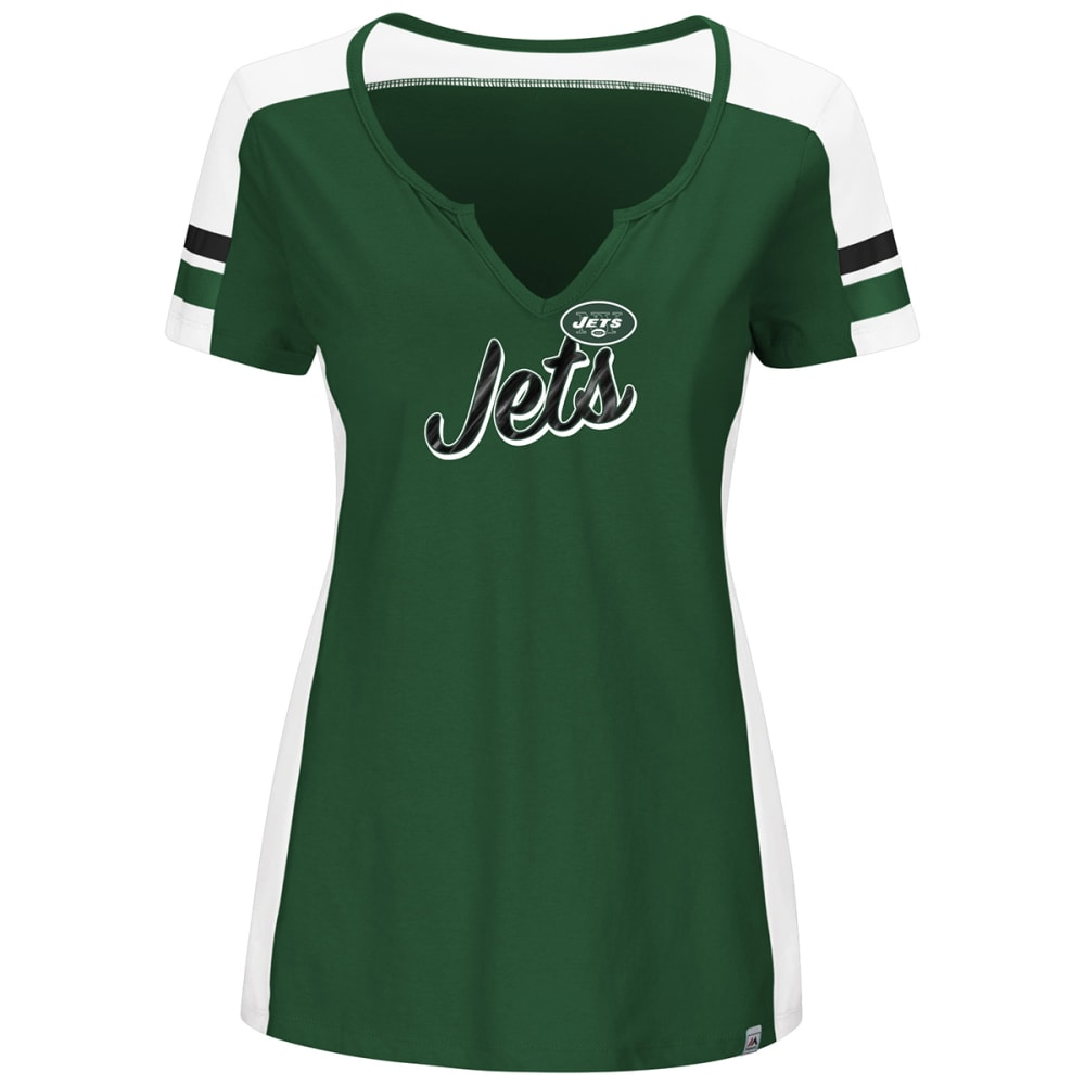 NEW YORK JETS Women's Pride Playing V-Neck Short-Sleeve Tee - GREEN