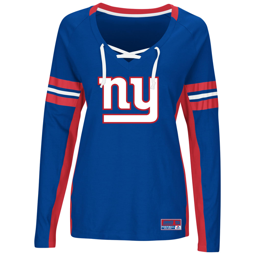 New York Giants Women's Winning Style V-Neck Long-Sleeve Tee - Blue, M