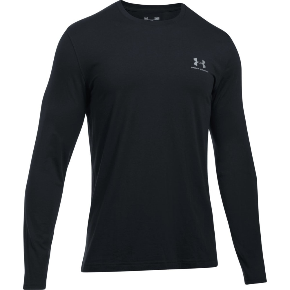 UNDER ARMOUR Men's Chest Logo Long-Sleeve Tee - BLACK/STEEL-001