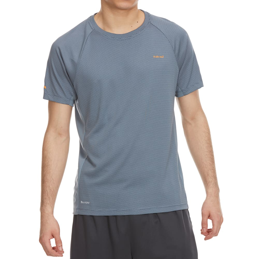 HIND Men's Texture Wicking Running Crew Short-Sleeve Shirt - GREY MIRAGE