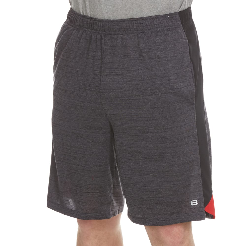 LAYER 8 Men's Space-Dye Heather Training Shorts - GREYSTONE/RED