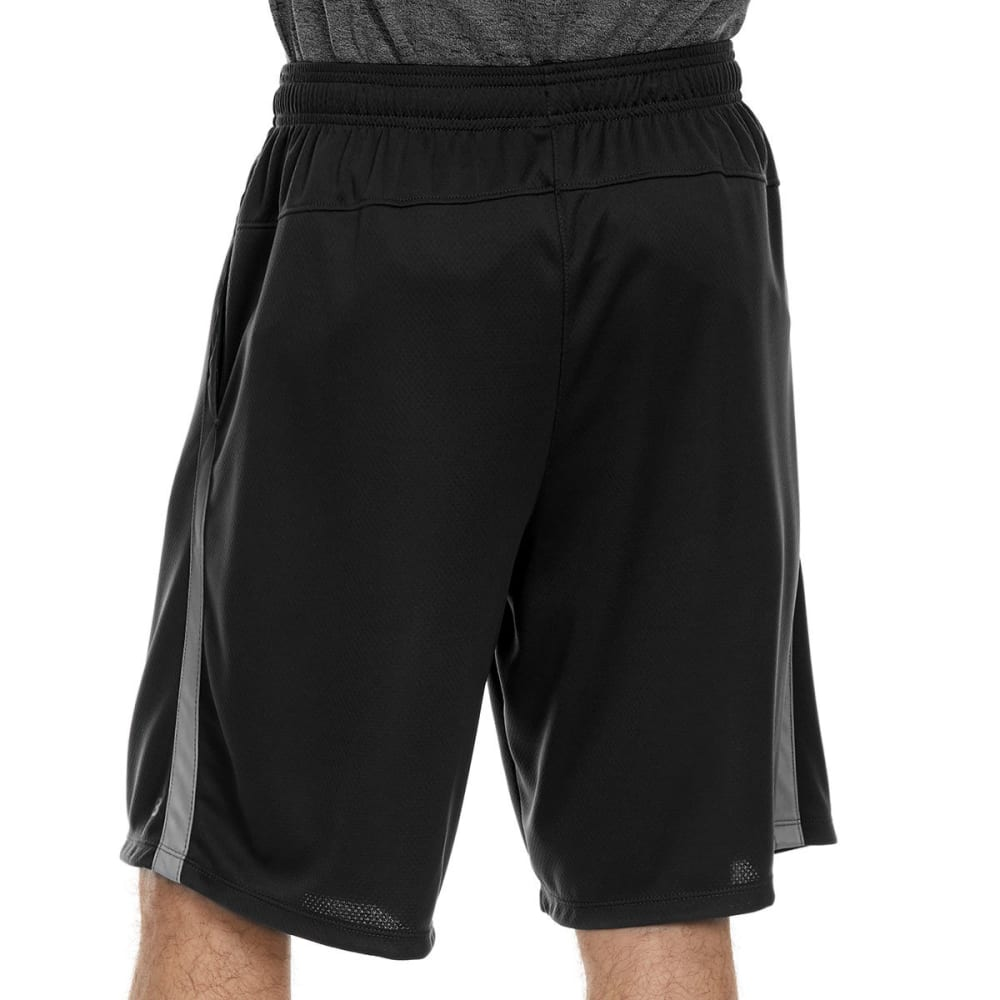 LAYER 8 Men's Mesh Training Shorts with Ombre Panel - RICH BLACK/GREYSTONE