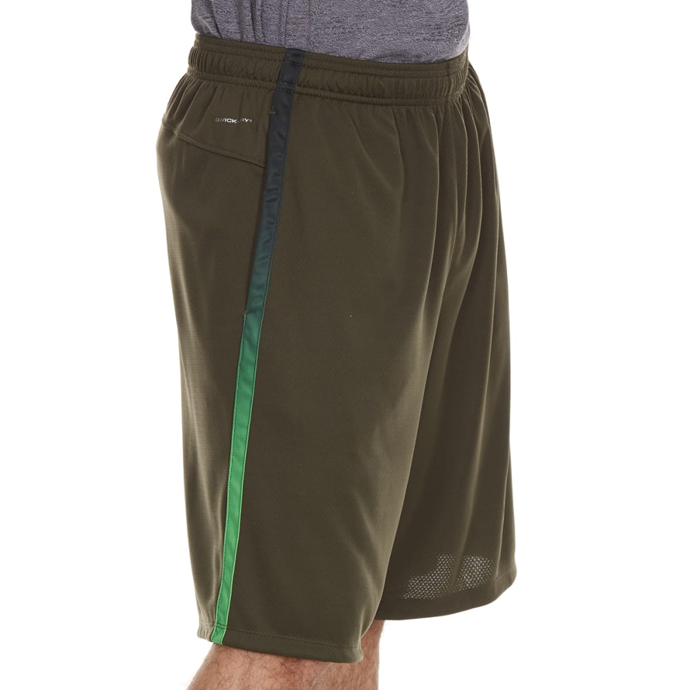 LAYER 8 Men's Mesh Training Shorts with Ombre Panel - DK OLIVE/GREEN APPLE
