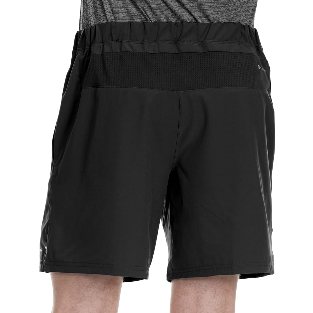 HIND Men's 7 in. Solid Woven Stretch Shorts with Briefs - RICH BLACK