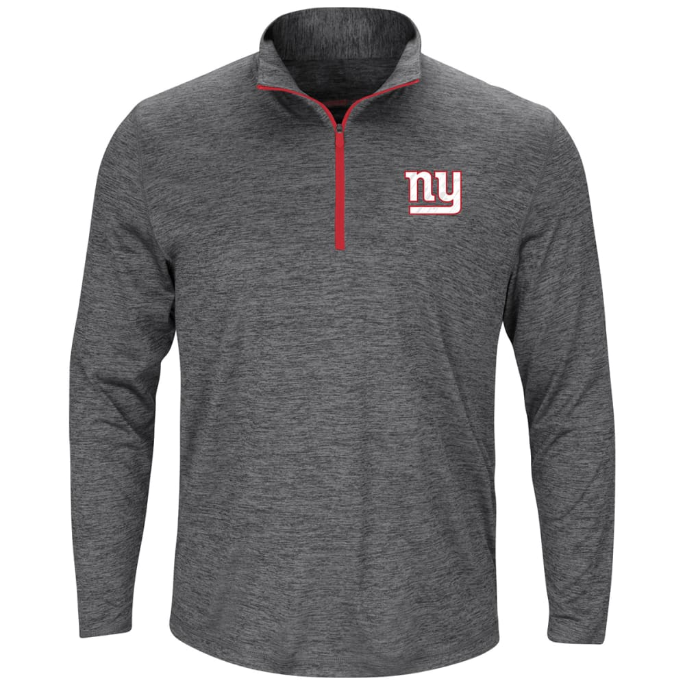 NEW YORK GIANTS Men's Intimidating Poly Half Zip Pullover - HEATHER CHARCOAL