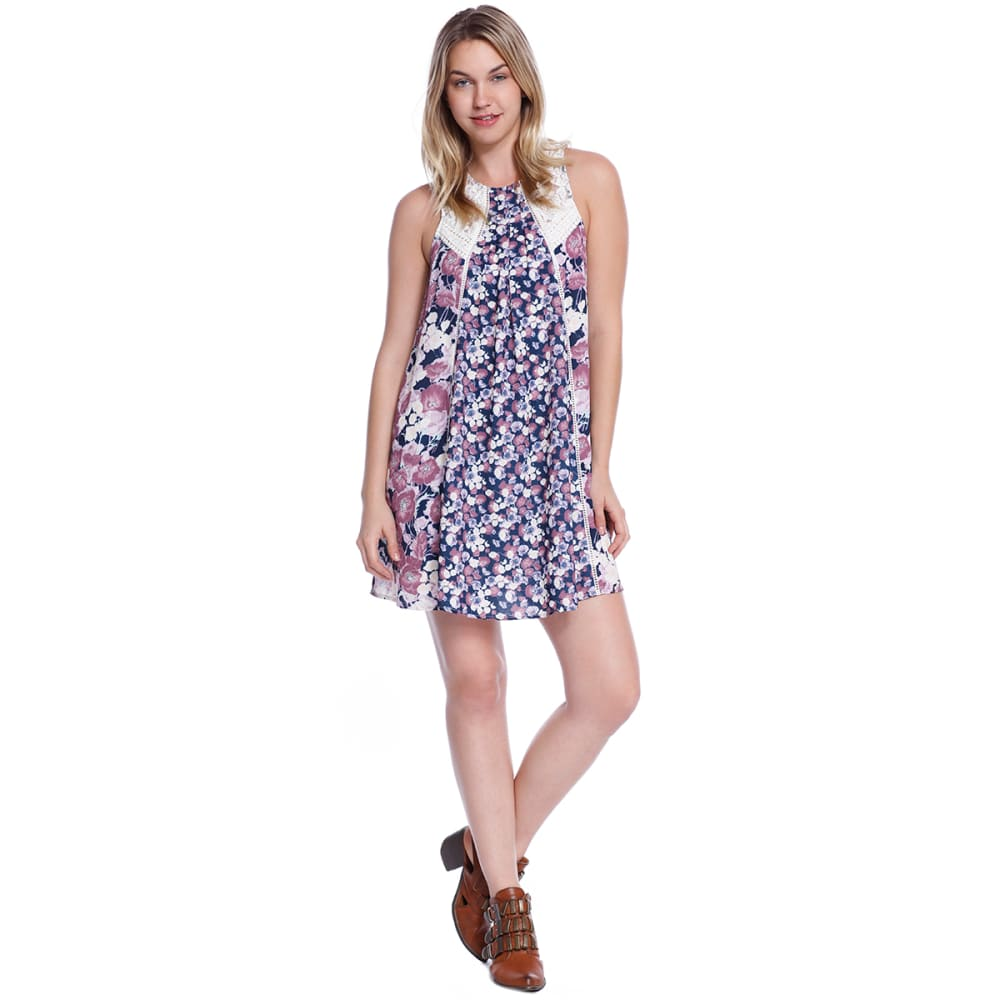 TAYLOR & SAGE Juniors' Mix Print Dress - DAI-DARKEST INDIGO