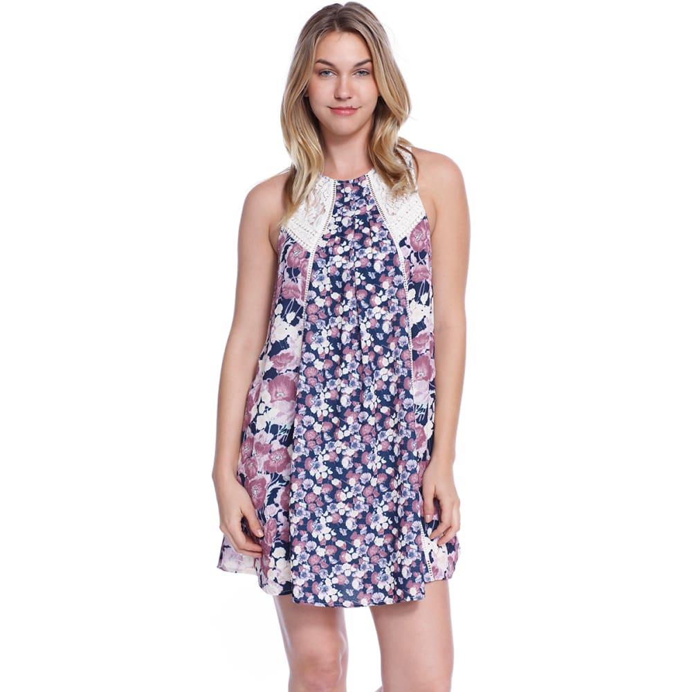 TAYLOR & SAGE Juniors' Mix Print Dress - DAI-DARKEST INDIGO