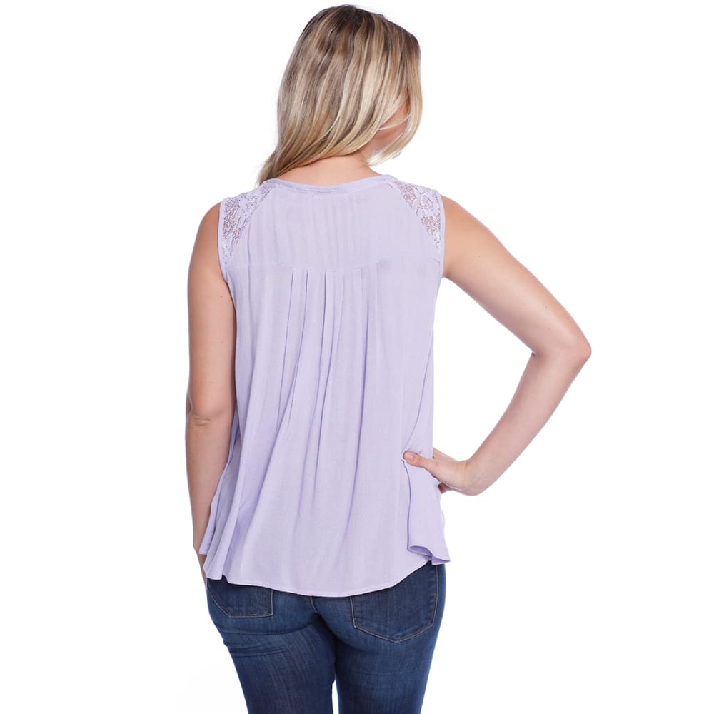 TAYLOR & SAGE Juniors' Pleated Baby Doll Woven Top - SPL-SEA PLUM
