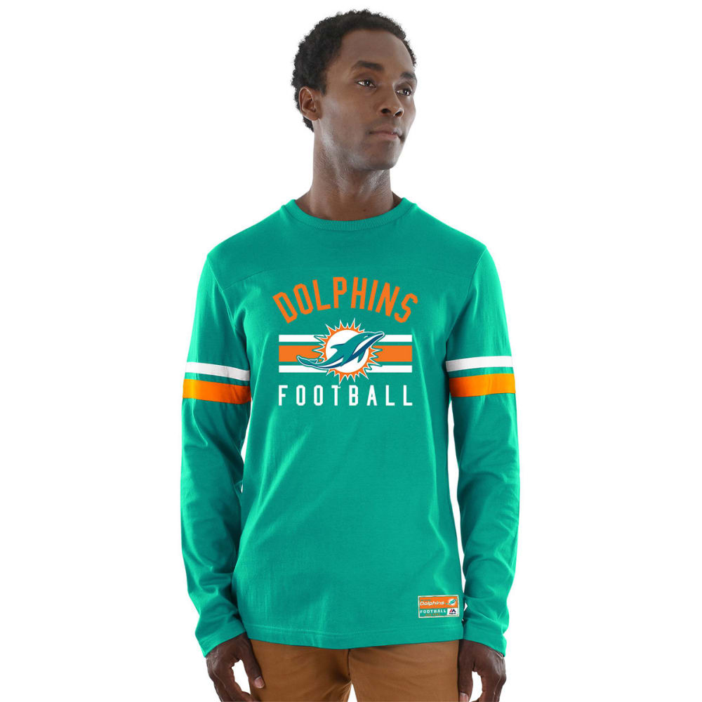 MIAMI DOLPHINS Men's Power Hit Long-Sleeve Tee - AQUA