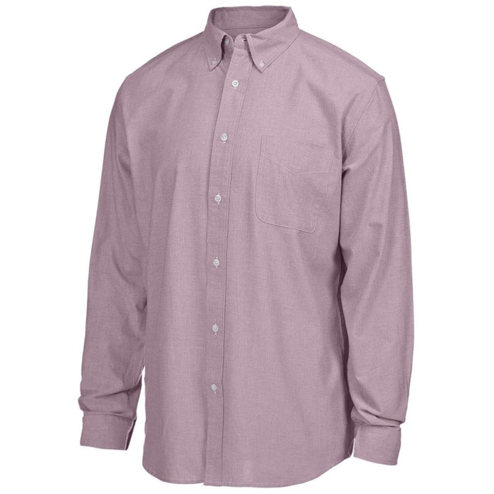 NATURAL BASIX Men's Slim Bengal Woven Long Sleeve Shirt - BURGUNDY