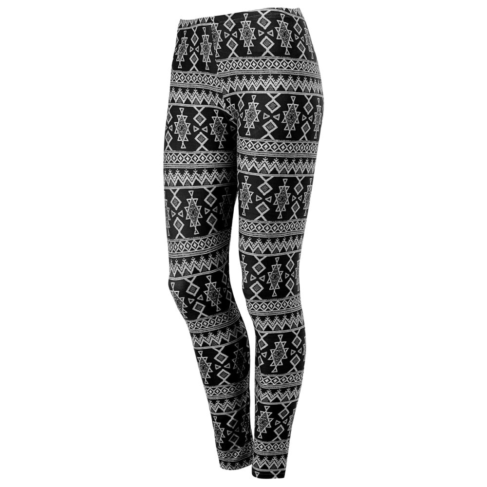 POOF Juniors' Aztec Print Peached Leggings - BLACK/WHITE COMBO