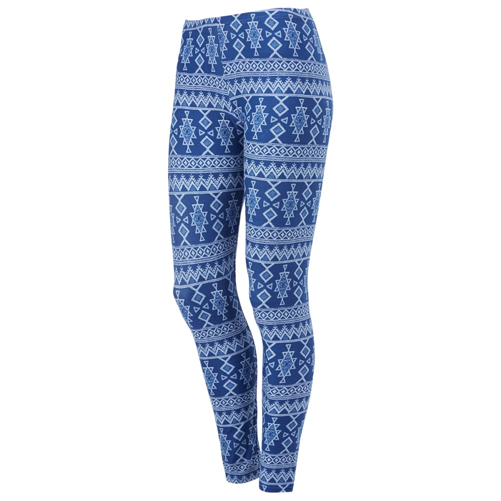POOF Juniors' Aztec Print Peached Leggings - DENIM/SKY COMBO