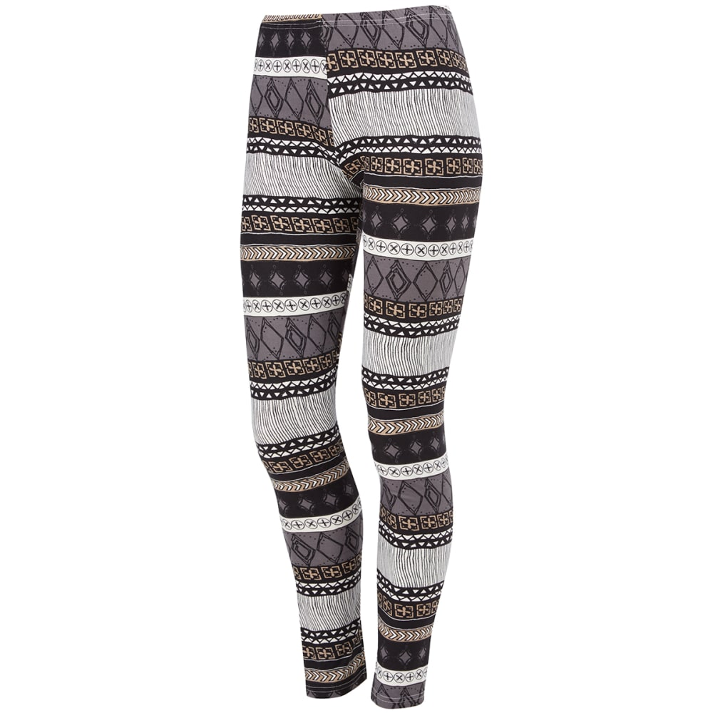 POOF Juniors' Paisley Print Peached Leggings - BLACK COMBO