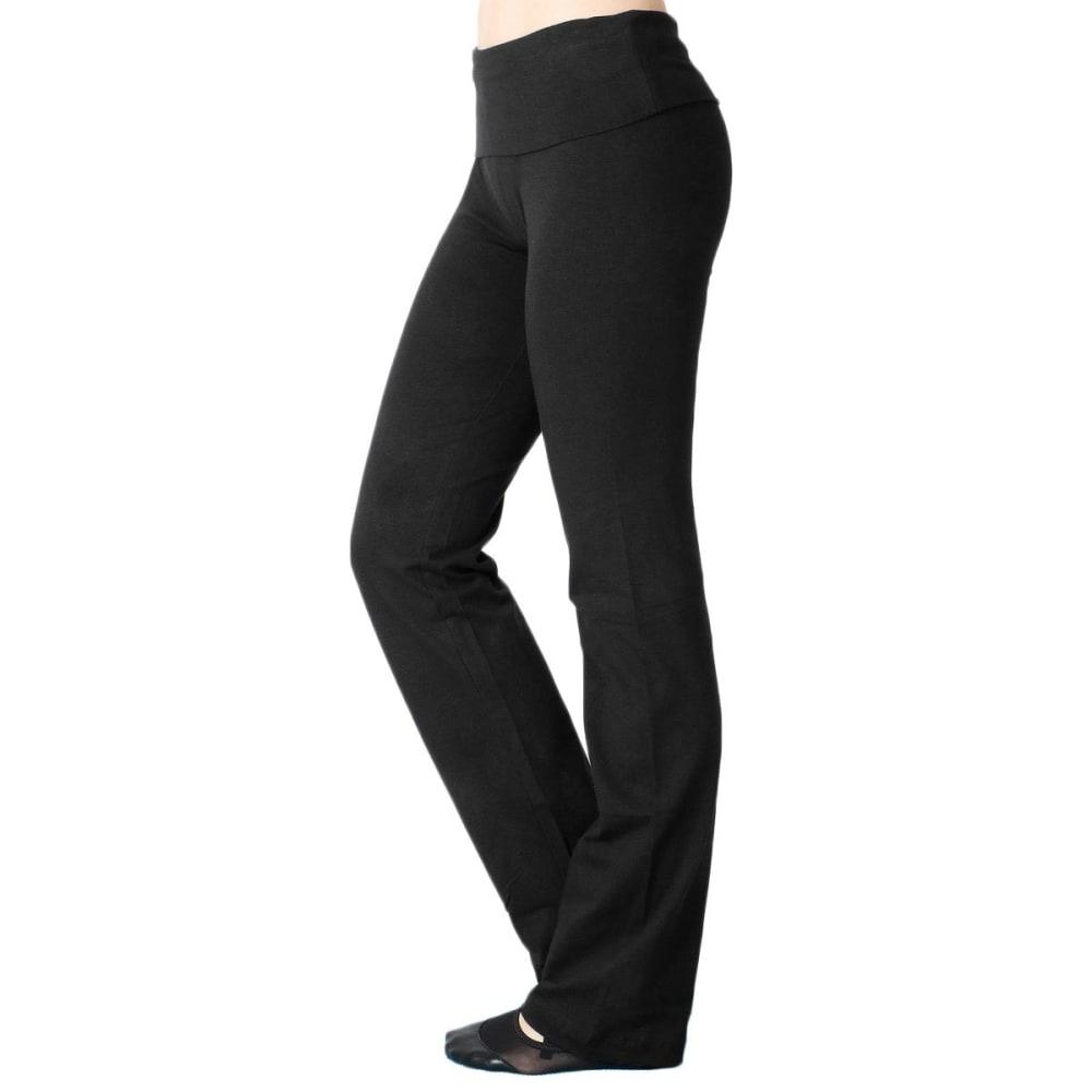 ZENANA Juniors' Solid Yoga Pants - BLACK
