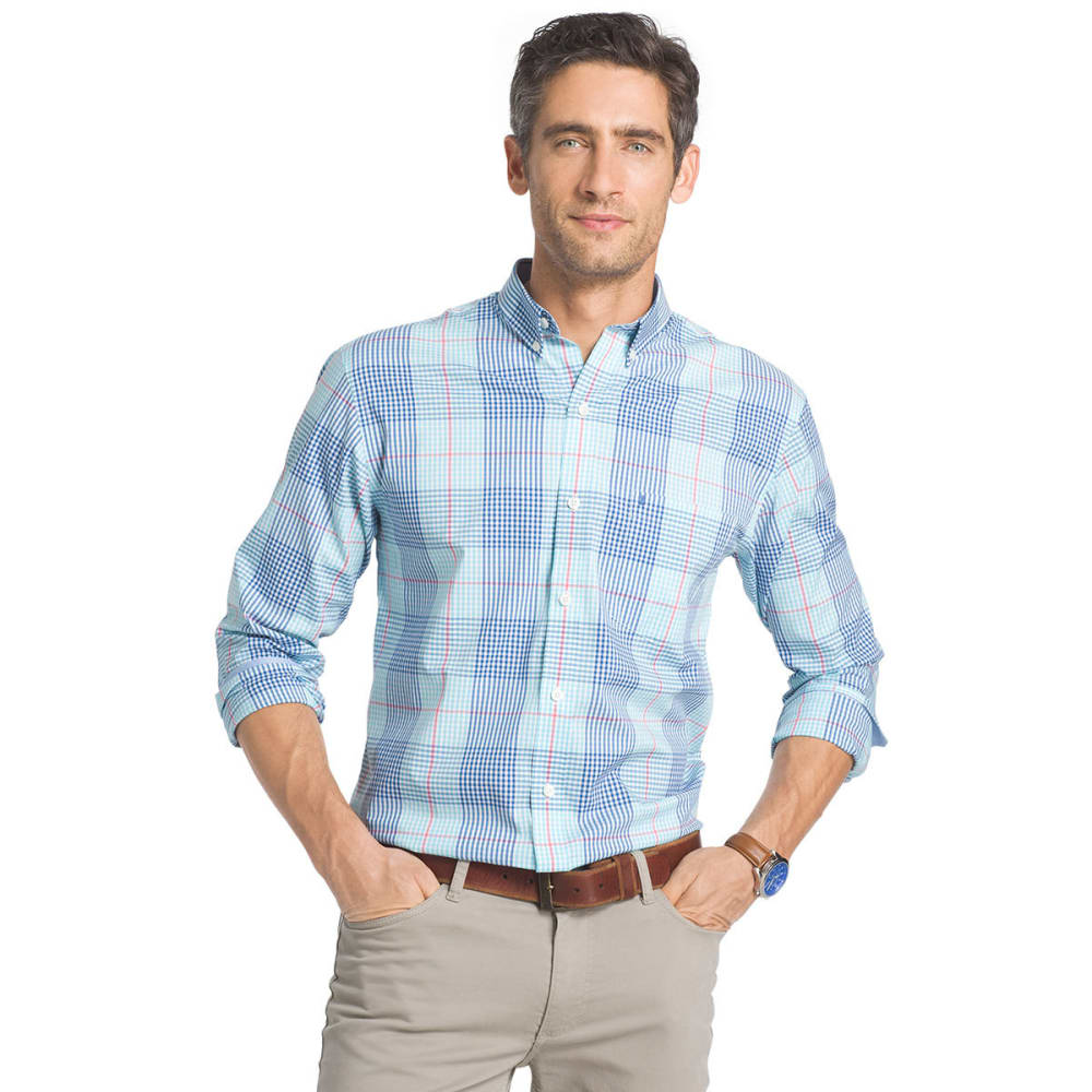 IZOD Men's Plaid Stretch Woven Long-Sleeve Shirt - BLUE RADIANCE-477