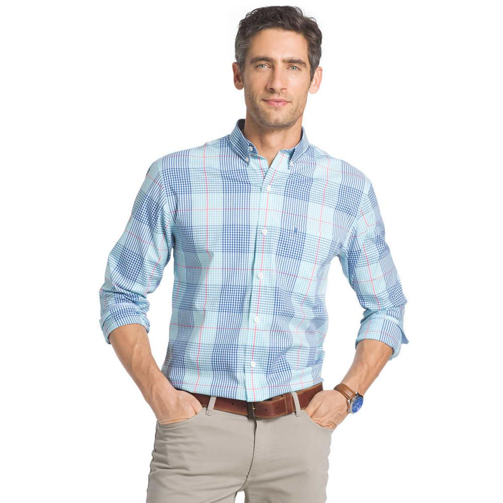 IZOD Men's Plaid Stretch Woven Long-Sleeve Shirt - BLUE RADIANCE-477