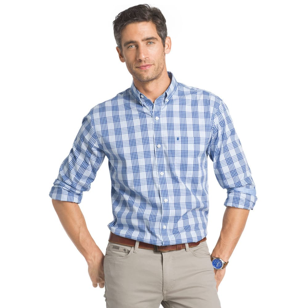 IZOD Men's Plaid Stretch Woven Long-Sleeve Shirt - POWDER BLUE-454