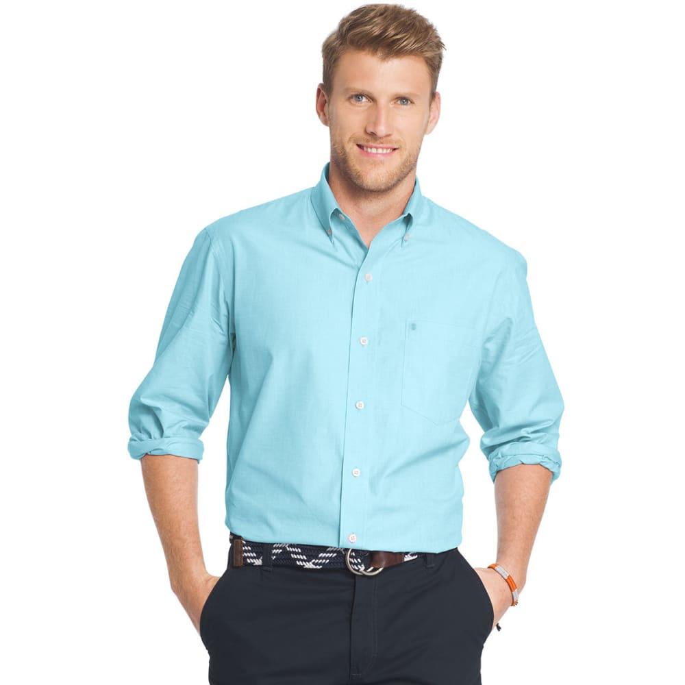 IZOD Men's Essential Poplin Woven Long-Sleeve Shirt - BLUE RADIANCE-477