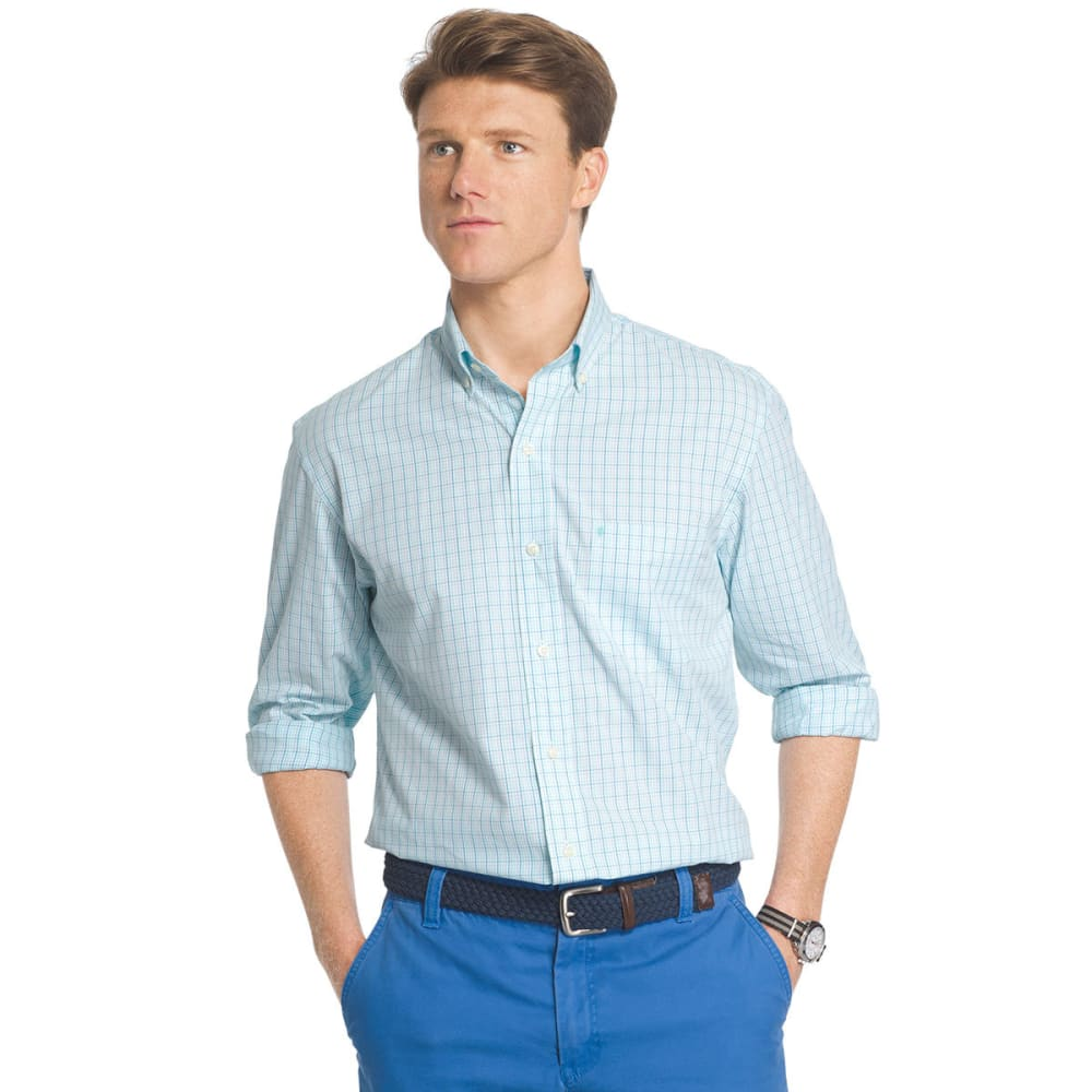 IZOD Men's Essential Plaid Woven Long-Sleeve Shirt - BLUE RADIANCE-477