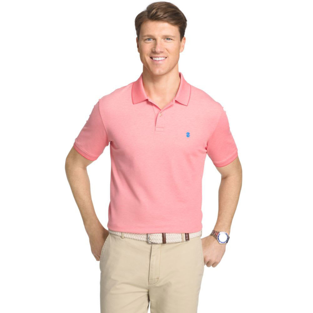 IZOD Men's Advantage Solid Oxford Polo Short-Sleeve Shirt - ROSE OF SHARON-665