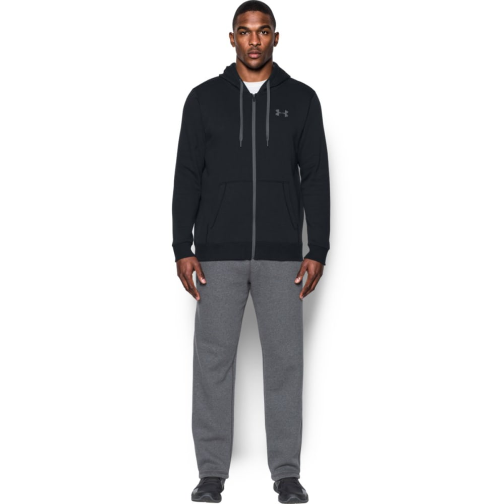 UNDER ARMOUR Men's UA Rival Fleece Fitted Full-Zip Hoodie - BLACK/GRAPHITE-001