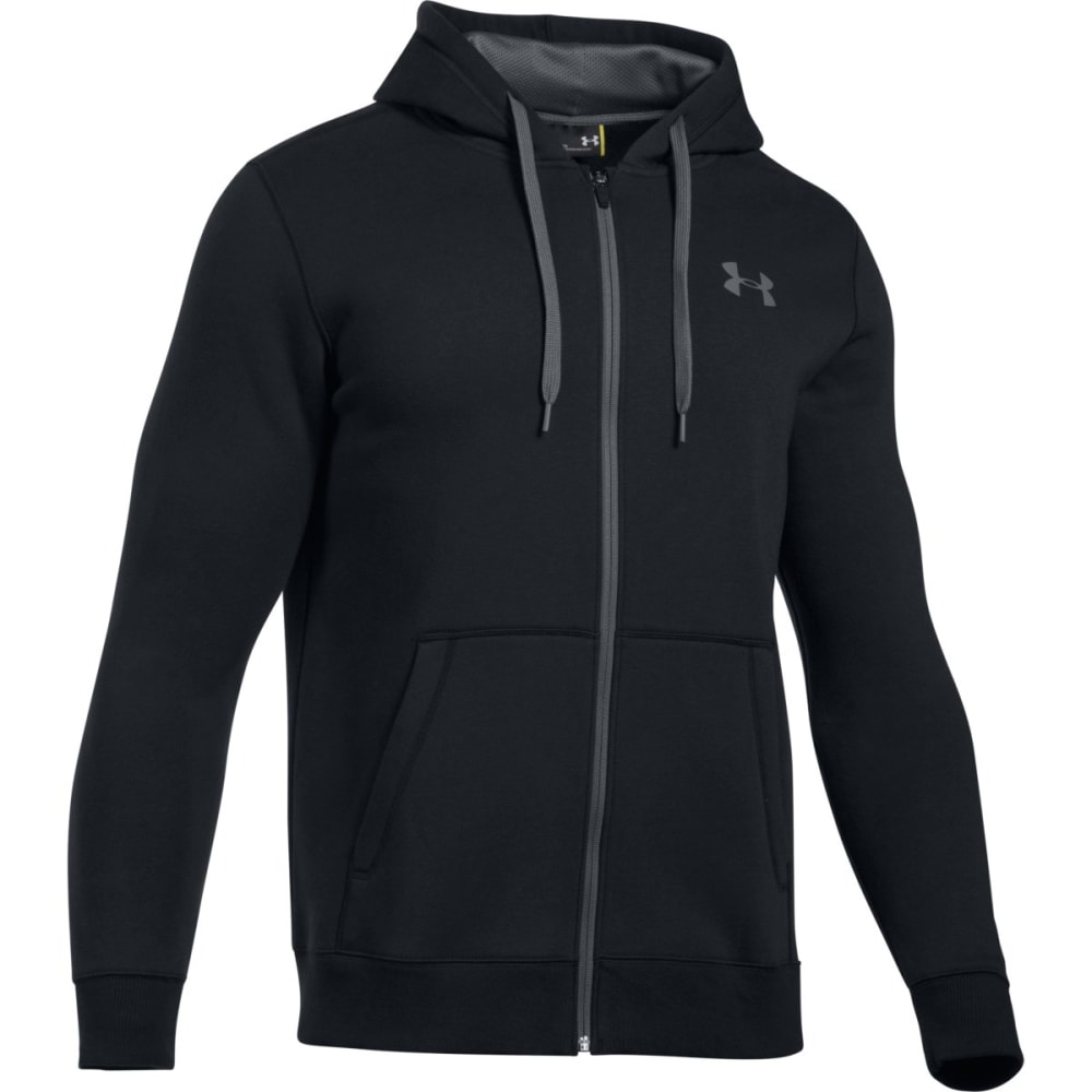 UNDER ARMOUR Men's UA Rival Fleece Fitted Full-Zip Hoodie - BLACK/GRAPHITE-001