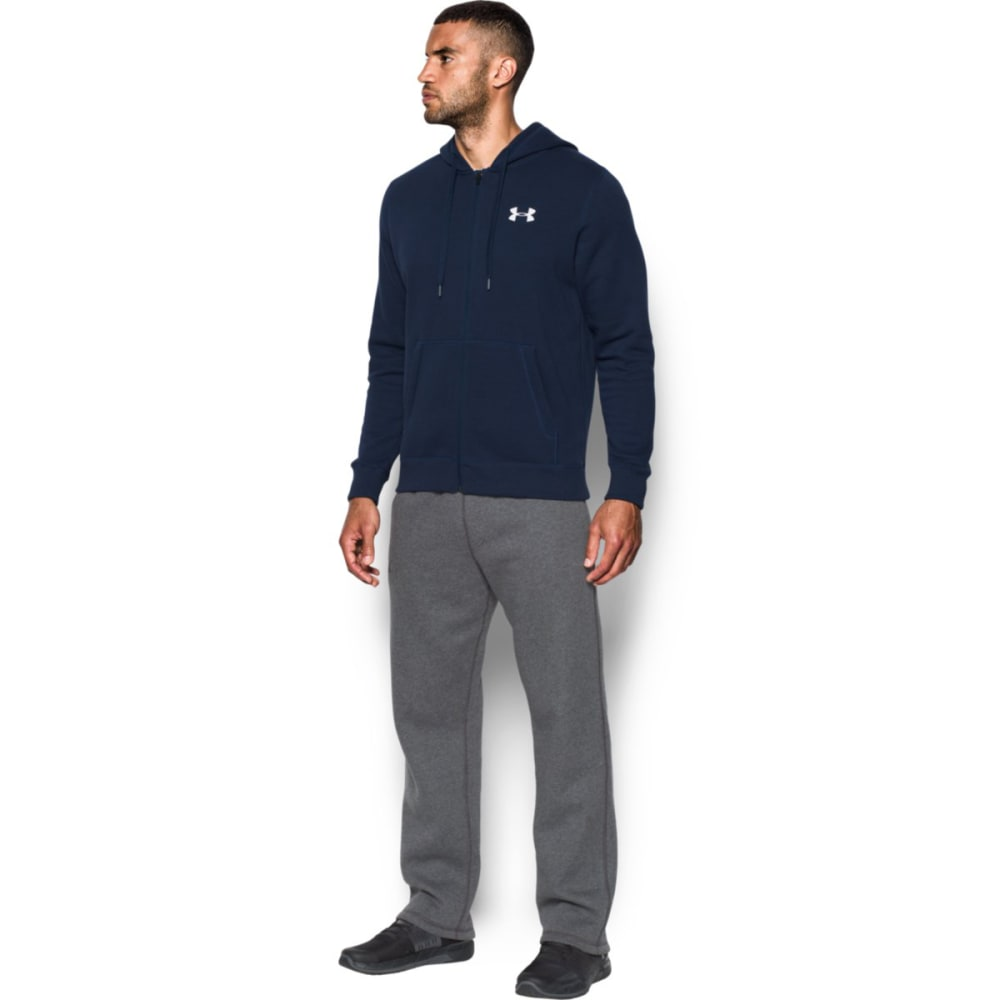 UNDER ARMOUR Men's UA Rival Fleece Fitted Full-Zip Hoodie - MIDNIGHT NVY/WHT-410
