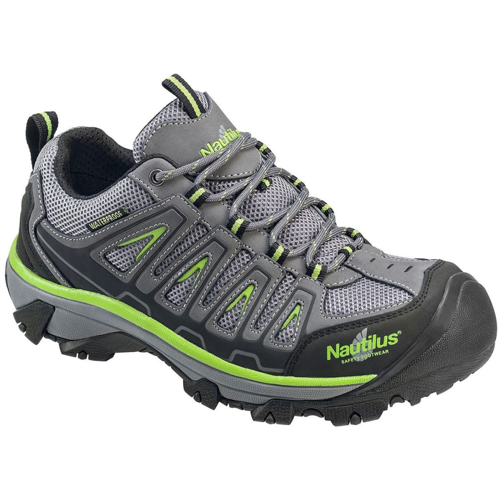 NAUTILUS Men's 2208 Waterproof Steel Toe Work Shoes, Gray/Lime 8