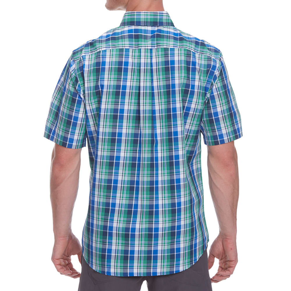 DOCKERS Men's Medium Plaid Woven Short-Sleeve Shirt - CODE BLUE-0151