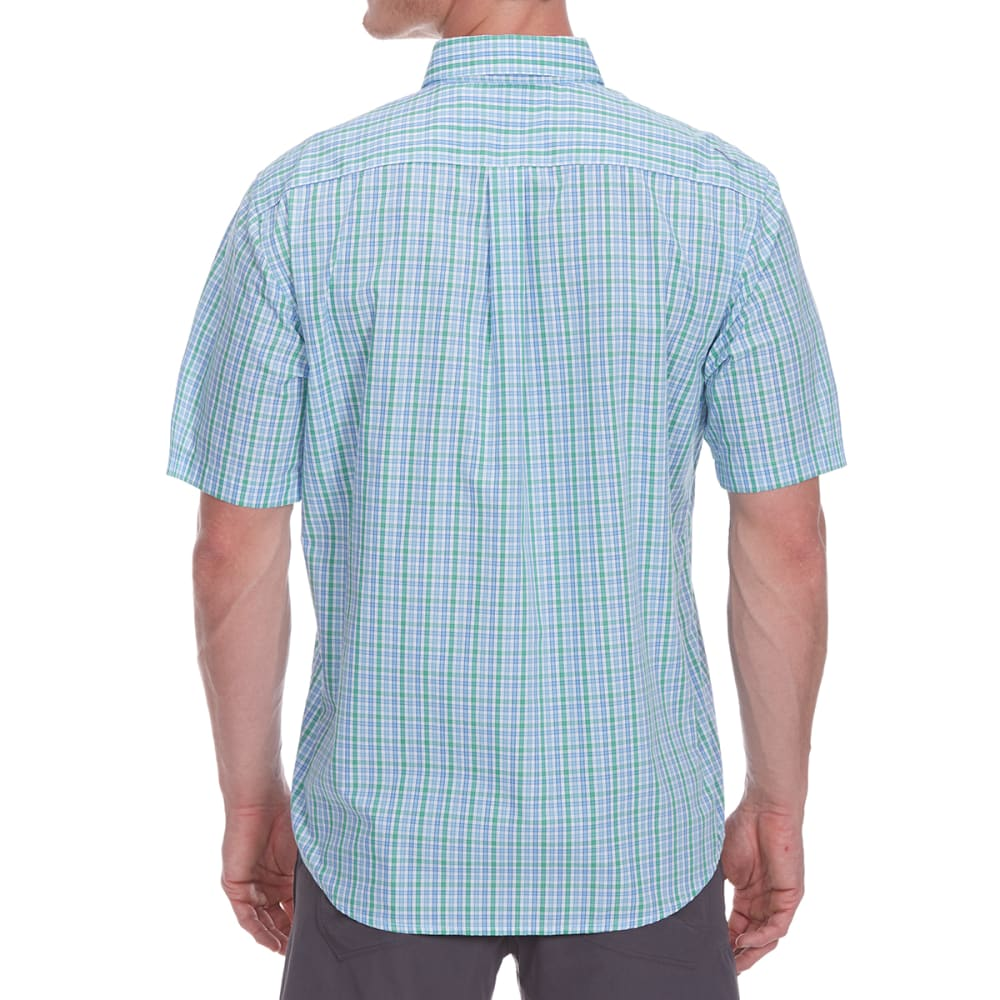DOCKERS Men's Small Plaid Woven Short-Sleeve Shirt - CODE BLUE-0174
