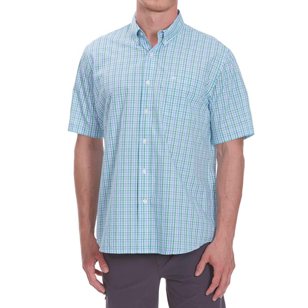 DOCKERS Men's Small Plaid Woven Short-Sleeve Shirt - CODE BLUE-0174