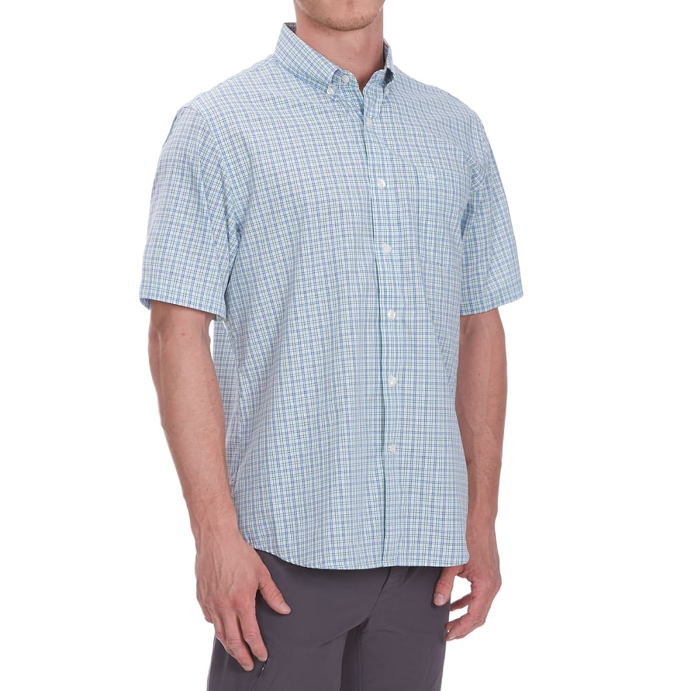 DOCKERS Men's Small Plaid Woven Short-Sleeve Shirt - DELLA ROBBIA BL-0161