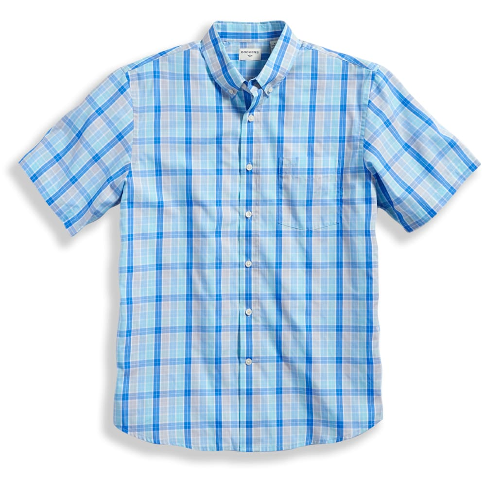 Dockers Men's Medium Plaid Woven Short-Sleeve Shirt - Blue, M