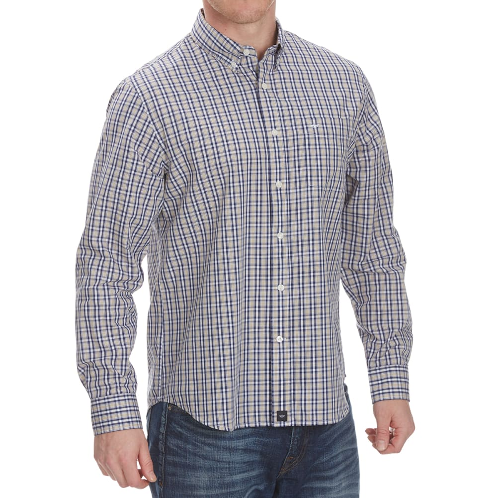 DOCKERS Men's Anchor Check Woven Long-Sleeve Shirt - SAFARI BEIGE-0062