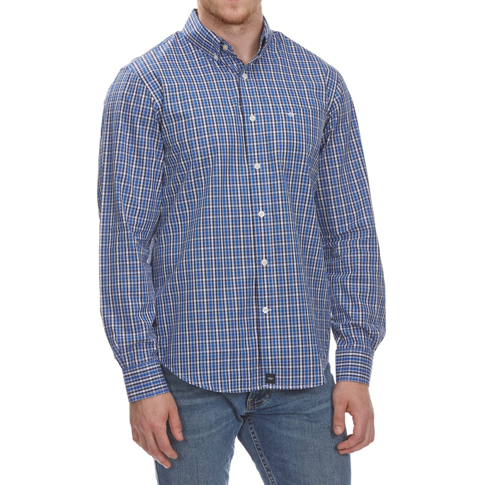 DOCKERS Men's Anchor Check Woven Long-Sleeve Shirt - OLYMPIAN BLUE-0063