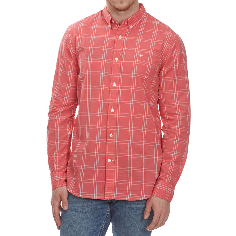 DOCKERS Men's Beach Poplin Grid Woven Long-Sleeve Shirt - CRLSUN-0421