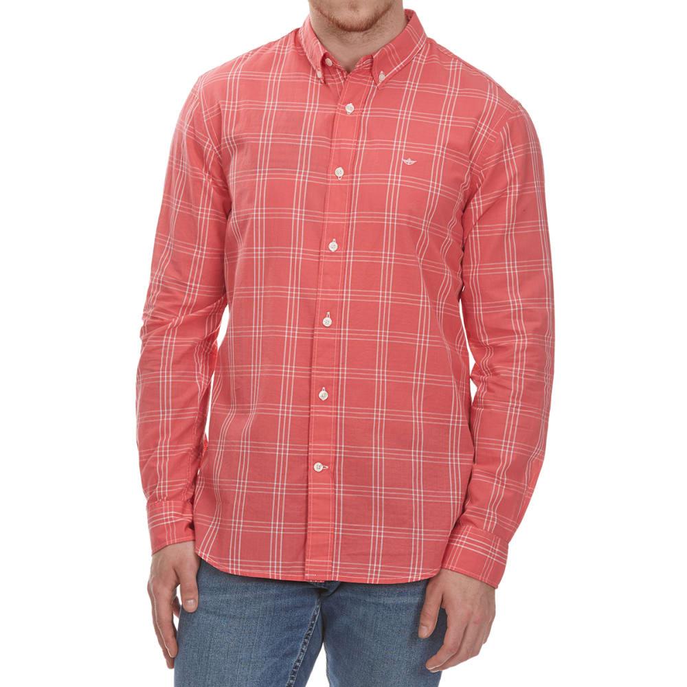 DOCKERS Men's Beach Poplin Grid Woven Long-Sleeve Shirt M