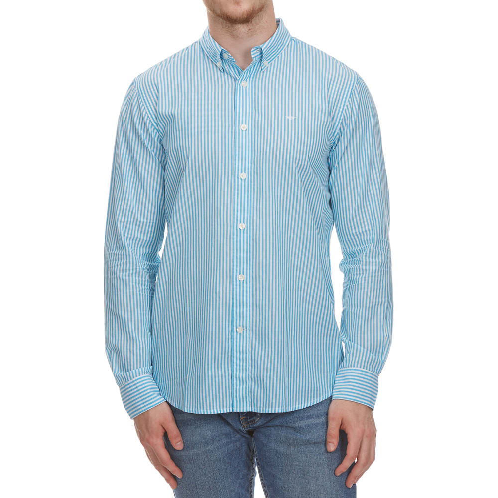 DOCKERS Men's Beach Poplin Stripe Woven Long-Sleeve Shirt M