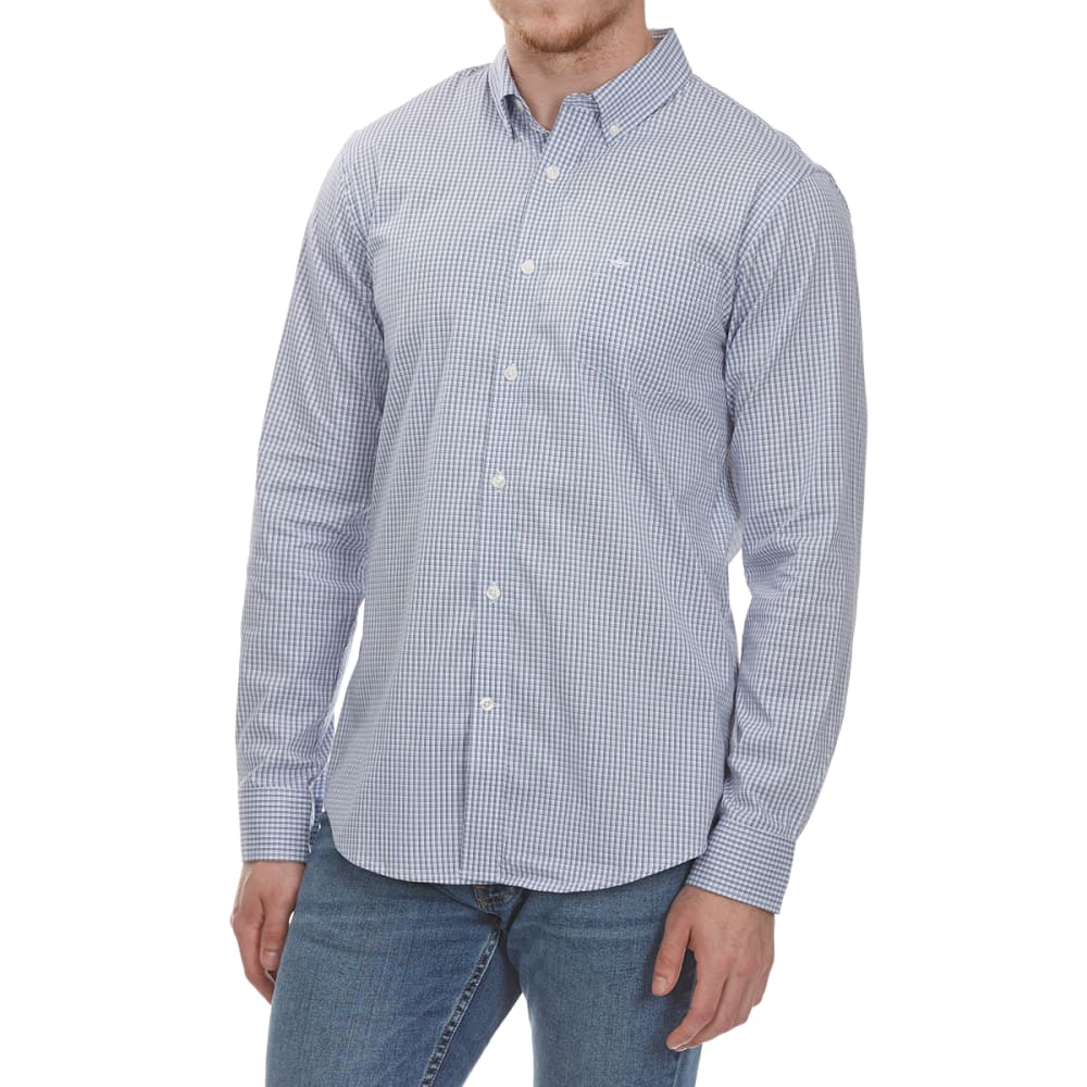 DOCKERS Men's Stretch Grid Woven Long-Sleeve Shirt - CODE BLUE-0354