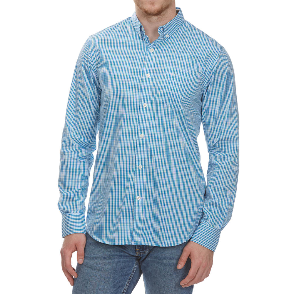 Dockers Men's Stretch Grid Woven Long-Sleeve Shirt - Blue, XL