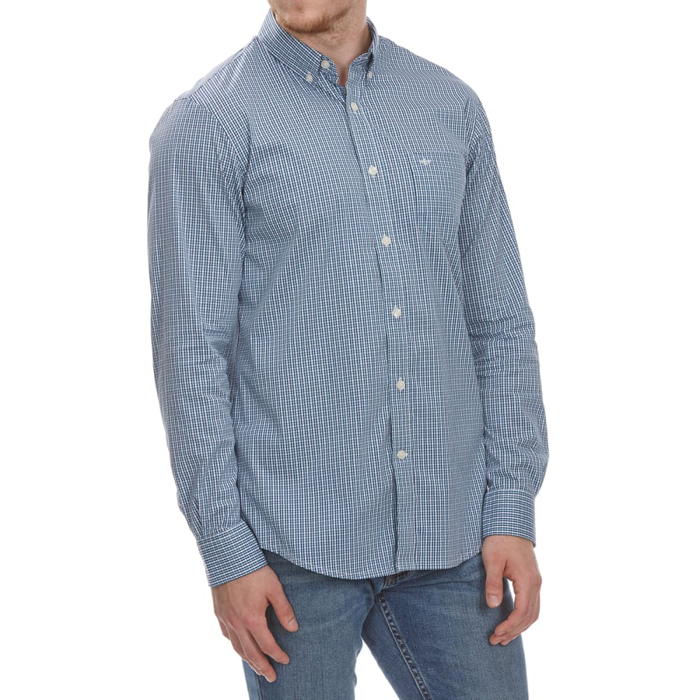 Dockers Men's Stretch Grid Woven Long-Sleeve Shirt - Blue, M