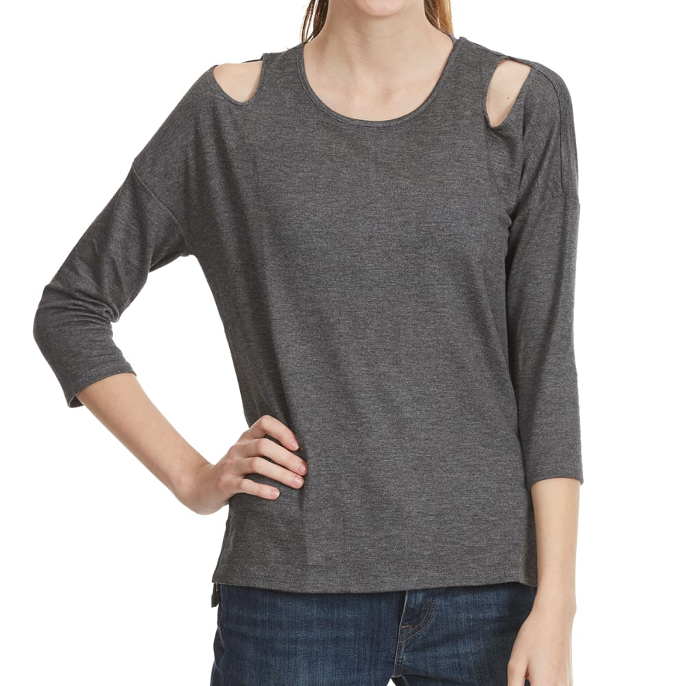 TRESICS FEMME Women's ¾ Drop Shoulder Scoop Neck Tee - HT CHARCOAL