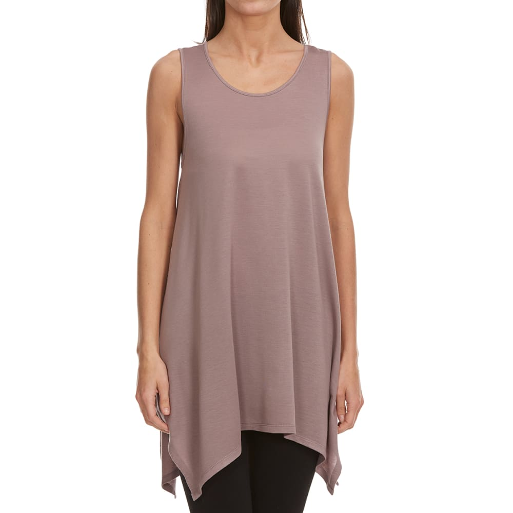 TRESICS FEMME Women's Scoop Tank with Shark Bite Hem - BALSAMIC